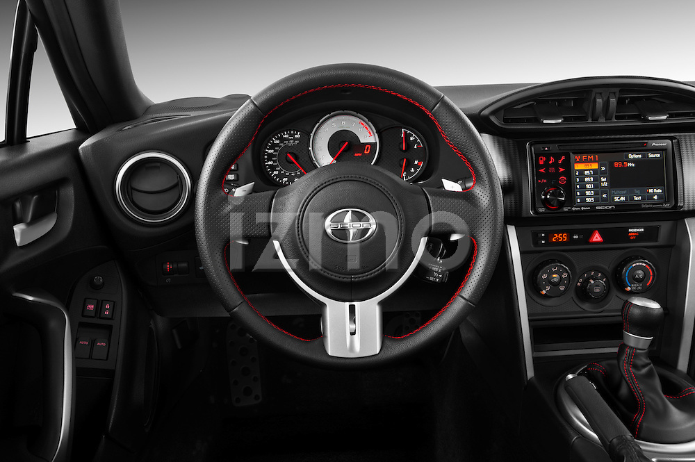 Steering wheel view of a 2013 Scion FRS
