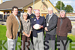 REUNION: Austin Stack nephew of Austin Stack on his recent visit to the Austin Stack clubhouse at Connolly Park, Tralee on Sunday l-r: Eddie Barrett, Anita Stack, William Kirby (manager senior team), Austin Stack, Mayor of Tralee Johnny Wall and Brendan Dowling (president).