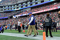 Sunday, October 2, 2016: Buffalo Bills head coach Rex Ryan walks out onto the fiels at the NFL game between the Buffalo Bills and the New England Patriots held at Gillette Stadium in Foxborough Massachusetts. Buffalo defeats New England 16-0. Eric Canha/Cal Sport Media