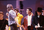 Live Aid 1985 Wembley Stadium, London , England. Paul McCartney, Bob Geldolf, George Michael, Andrew Ridgeley, Bono
