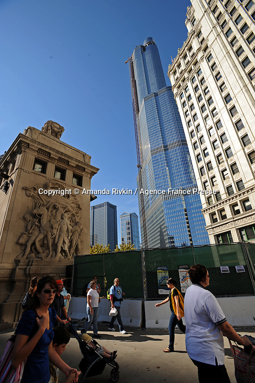 The Trump International Hotel and Tower in downtown Chicago, Illinois on October 12, 2008.  At a press conference on Sept. 24, Donald Trump said the fact that his building was built before the credit crunch made it difficult if not impossible for real estate developers to take out loans, vital lifelines for their projects, gave his tower a significant advantage over other luxury high rise projects in Chicago.
