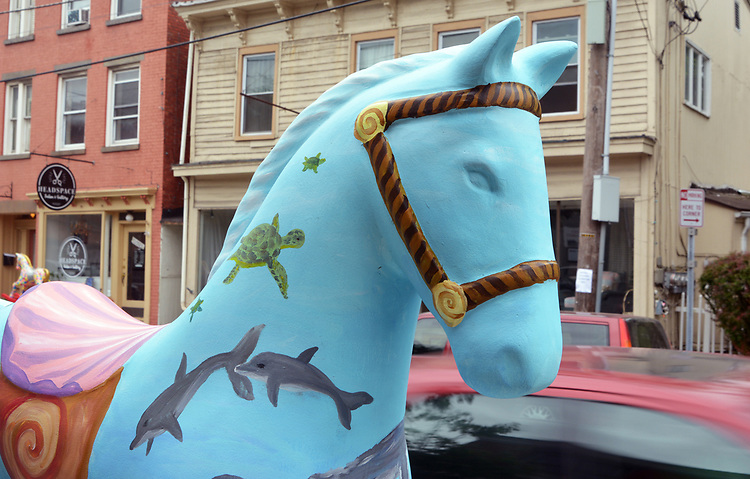 """A view of """"Seahorse"""" created by artist, Heather I. Martin, one of the """"Rockin' Around Saugerties"""" theme Statues on display throughout the Village of Saugerties, NY, on Sunday, June 4, 2017. Photo by Jim Peppler. Copyright/Jim Peppler-2017."""