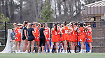 DURHAM, NC - FEBRUARY 16: Campbell's players huddle before the game. The Duke University Blue Devils hosted the Campbell University Camels on February 16, 2018, at Koskinen Stadium in Durham, NC in women's college lacrosse match. Duke won the game 18-8.