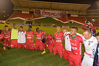 TUNJA  - COLOMBIA - 30 - 05 - 2017: Los Jugadores de Patriotas F. C., celebran la clasificación a la siguiente fase al vencer a Everton, durante partido de vuelta entre Patriotas F. C. de Colombia y Everton of Chile, de la primera fase, llave 5 por la Copa Conmebol Sudamericana en el estadio La Independencia de la ciudad de Tunja. / The players Patriotas F. C., celebrate the classification to the next phase after beating Everton, during a match of the second leg of the first phase key 5 of between Patriotas F. C. of Colombia and Everton of Chile, for the Conmebol Sudamericana Cup 2017 at the La Libertad stadium in the city of Tunja. Photo: VizzorImage / Jose M. Palencia / Cont.