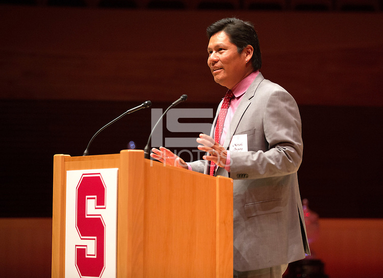 STANFORD, CA.,--OCTOBER 11, 2014---The  introduction of Notah Begay III,  at  the Stanford Athletics Hall of Fame  Induction Ceremony at the Stanford Bing Concert Hall on the Stanford University Campus.