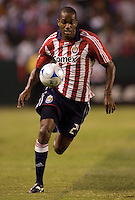 Chivas forward Atiba Harris (24) chases down a loose ball. Pachuca CF defeated the Chivas USA 2-1 during the 1st round of the 2008 SuperLiga at Home Depot Center stadium, in Carson, California on Sunday, July 13, 2008.