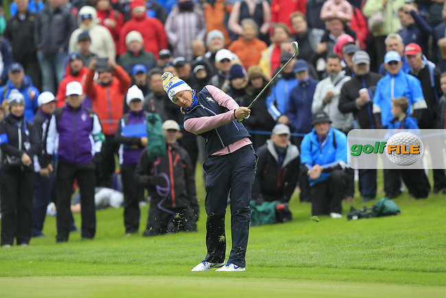 Suzann Pettersen of Team Europe on the 1st fairway during Day 2 Fourball at the Solheim Cup 2019, Gleneagles Golf CLub, Auchterarder, Perthshire, Scotland. 14/09/2019.<br /> Picture Thos Caffrey / Golffile.ie<br /> <br /> All photo usage must carry mandatory copyright credit (© Golffile | Thos Caffrey)