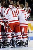 - The Boston University Terriers defeated the Merrimack College Warriors 6-4 (EN) on Saturday, January 16, 2010, at Agganis Arena in Boston, Massachusetts.