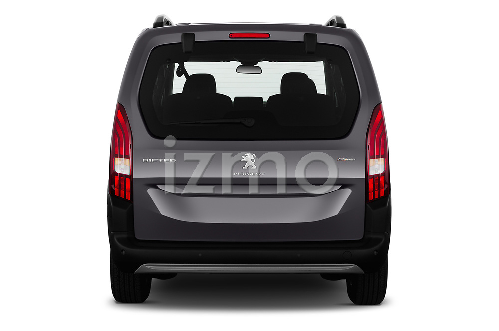 Straight rear view of a 2019 Peugeot Rifter GT-Line 5 Door MPV stock images