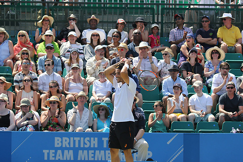 June 18th 2017, Nottingham, England; ATP Aegon Nottingham Open Tennis Tournament day 7 finals day;  Thomas Fabbiano of Italy and the crowd are amazed after he misses a relatively easy shot in the mens final against Dudi Sela of Israel