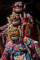 The ceremonial masked dances performed by the Buddhist monks of the Chemrey monastery depict moral stories and teachings. Monks enact characters from the religious tales by wearing masks and colorful robes while performing the dances.