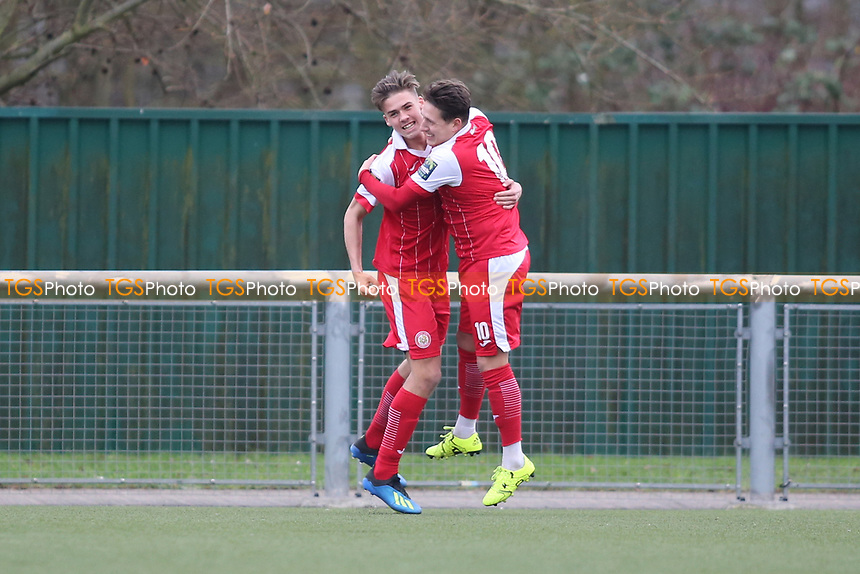 Tom Hitchcock of Harlow scores and celebrates during Harlow Town vs Haringey Borough, Bostik League Premier Division Football at The Harlow Arena on 12th January 2019