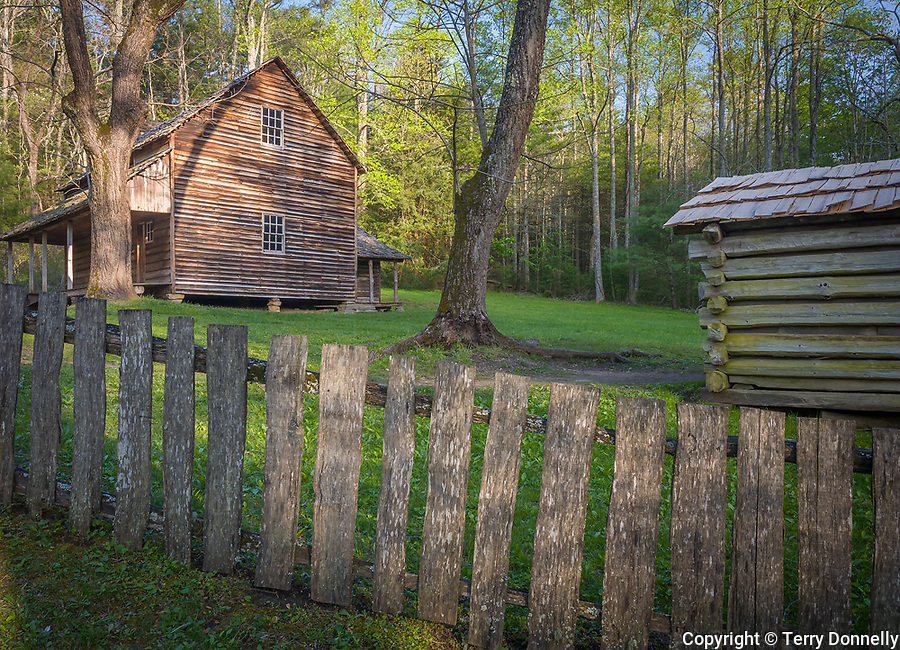 """Great Smoky Mts. National Park, TN/NC<br /> Farm house smoke house and weathered wood fence at """"The Tipton place"""" farm site in Cades Cove"""
