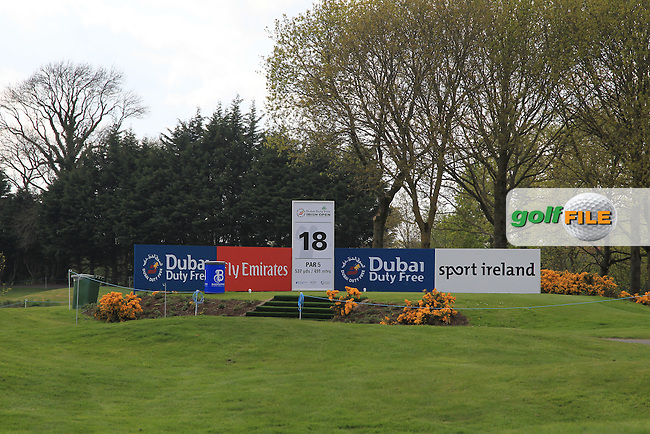 The 18th tee during Monday's Practice round of the Dubai Duty Free Irish Open Trophy at The K Club, Straffan, Co. Kildare<br /> Picture: Golffile | Thos Caffrey<br /> <br /> All photo usage must carry mandatory copyright credit <br /> (&copy; Golffile | Thos Caffrey)