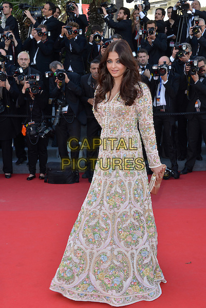 Aishwarya Rai Bachchan .'Blood Ties' premiere at the 66th  Cannes Film Festival, France..20th May 2013.full length white pink green blue pattern embellished jewel encrusted dress long sleeves clutch bag.CAP/PL.©Phil Loftus/Capital Pictures.