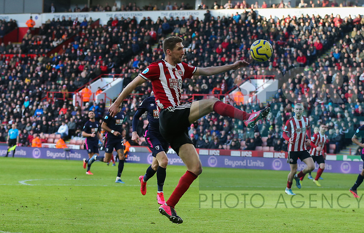 John Egan of Sheffield Utd in action during the Premier League match at Bramall Lane, Sheffield. Picture date: 9th February 2020. Picture credit should read: Chloe Hudson/Sportimage