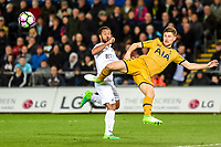 Wayne Routledge of Swansea City clashes with Ben Davies of Tottenham during the Premier League match between Swansea City and Tottenham Hotspur at The Liberty Stadium, Swansea, Wales, UK. Wednesday 05 April 2017