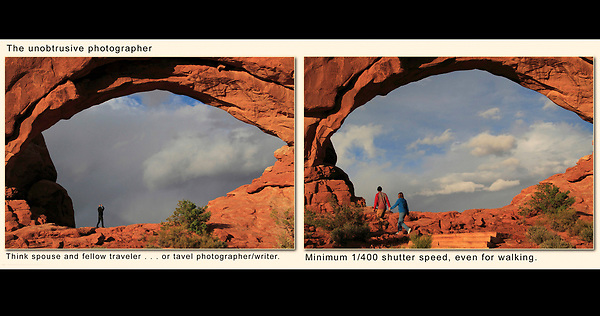 Framing and the Unobtrusive Photographer.<br /> Here I stayed back and composed. As friends and relatives passed by, I took photographs. These kinds of images are great to show people afterwards, rather than bothering them while they're enjoying the moment.<br /> Arches National Park, Utah, USA.