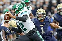Annapolis, MD - October 26, 2019: Tulane Green Wave quarterback Justin McMillan (12) in action during the game between Tulane and Navy at  Navy-Marine Corps Memorial Stadium in Annapolis, MD.   (Photo by Elliott Brown/Media Images International)