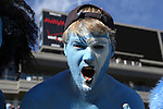 30 November 2013: UNC fan. The University of North Carolina Tar Heels played the Duke University Blue Devils at Keenan Memorial Stadium in Chapel Hill, NC in a 2013 NCAA Division I Football game. Duke won the game 27-25.