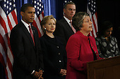 Chicago, IL - December 1, 2008 -- United States Arizona Governor Janet Napolitano, at podium, nominated at homeland security secretary, speaks at a press conference on Monday, December 1, 2008 for  President-elect Barack Obama, left, to announce United States Senator Hillary Rodham Clinton (Democrat of New York), middle left, nominee for Secretary of State, retired Marine General James L. Jones as national security adviser, middle right, and  Susan Rice, far right, as United Nations ambassador at the Chicago Hilton & Towers in Chicago, Illinois. .Credit: Anne Ryan - Pool via CNP