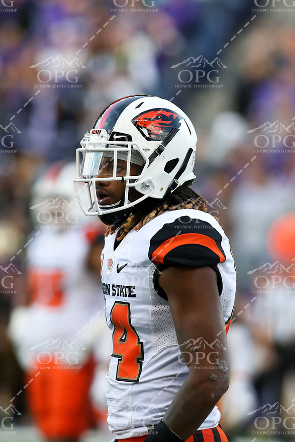 22 October 2016:   Oregon State's Treston Decoud against Washington. Washington defeated Oregon State 41-17 at the University of Washington in Seattle, WA.