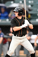 Jake Ring (10) of the Delmarva Shorebirds on the North team bats at the South Atlantic League All-Star Game on Tuesday, June 20, 2017, at Spirit Communications Park in Columbia, South Carolina. The game was suspended due to rain after seven innings tied, 3-3. (Tom Priddy/Four Seam Images)