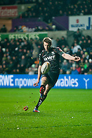 Friday 03 January 2014<br /> Pictured: Dan Biggar converts for the Osprays <br /> Re: Osprays v Scarlets, Rabo Direct Pro 12 match at the Liberty Stadium Swansea, Wales