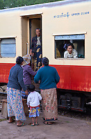 "Myanmar, Burma.  Passengers in Coaches at Kalaw Train Station.  ""Upper Class."""
