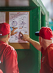 22 August 2015: Washington Nationals Manager Matt Williams (right) discusses a possible pitching change with pitching coach Steve McCatty during a game against the Milwaukee Brewers at Nationals Park in Washington, DC. The Nationals defeated the Brewers 6-1 in the second game of their 3-game weekend series. Mandatory Credit: Ed Wolfstein Photo *** RAW (NEF) Image File Available ***