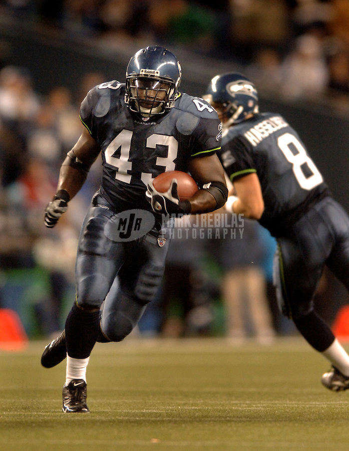 Oct. 16, 2005; Seattle, WA, USA; Seattle Seahawks fullback (43) Leonard Weaver against the Houston Texans at Qwest Field in Seattle, Washington. Mandatory Credit: Mark J. Rebilas