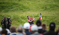 Victor Dubuisson (FRA) plays a high lob to the 5th during Round Two of the 100th Open de France, played at Le Golf National, Guyancourt, Paris, France. 01/07/2016. Picture: David Lloyd | Golffile.<br /> <br /> All photos usage must carry mandatory copyright credit (&copy; Golffile | David Lloyd)