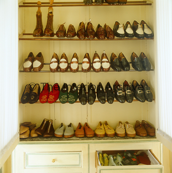 In the Duke of Windsor's dressing room his collection of shoes is stored in neat rows in a built-in cupboard