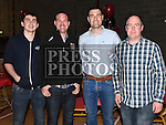 Conor McCullough, Gerard Brennan, Alan Gregory and Stephen Matthews pictured at St Kevin's GAA Club annual awards night in Phillipstown community centre. Photo:Colin Bell/pressphotos.ie