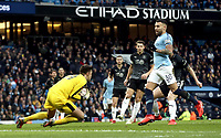 Burnley's Nick Pope gathers under pressure from Manchester City's Nicolas Otamendi<br /> <br /> Photographer Rich Linley/CameraSport<br /> <br /> Emirates FA Cup Fourth Round - Manchester City v Burnley - Saturday 26th January 2019 - The Etihad - Manchester<br />  <br /> World Copyright © 2019 CameraSport. All rights reserved. 43 Linden Ave. Countesthorpe. Leicester. England. LE8 5PG - Tel: +44 (0) 116 277 4147 - admin@camerasport.com - www.camerasport.com