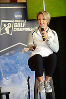 NWA Democrat-Gazette/ANDY SHUPE<br /> Lisa Cornwell, former Fayetteville High School and Arkansas golfer and current Golf Channel anchor, speaks Tuesday, April 9, 2019, during a press conference to announce the details of the NCAA Men's and Women's Golf Nation Championship at Blessings Golf Club in Johnson.