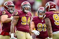 Landover, MD - November 18, 2018: Washington Redskins outside linebacker Preston Smith (94) celebrates an interception during second half action of game between the Houston Texans and the Washington Redskins at FedEx Field in Landover, MD. The Texans defeated the Redskins 23-21. (Photo by Phillip Peters/Media Images International)