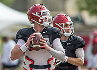 NWA Democrat-Gazette/BEN GOFF @NWABENGOFF<br /> Cole Kelley (left) and Ty Storey, Arkansas quarterbacks, Wednesday, Aug. 8, 2018, at the Arkansas practice field in Fayetteville.