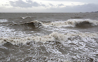 WEATHER PICTURE SWANSEA<br /> Pictured: Swansea seafront, south Wales. Monday 03 February 2014<br /> Re: High tides combined with strong winds are affecting parts of the UK.