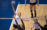 GRAND RAPIDS, MI - NOVEMBER 18: Aubrey Cox (10) of Wittenberg University taps the ball over the net during the Division III Women's Volleyball Championship held at Van Noord Arena on November 18, 2017 in Grand Rapids, Michigan. Claremont-M-S defeated Wittenberg 3-0 to win the National Championship. (Photo by Doug Stroud/NCAA Photos via Getty Images)