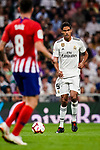 Raphael Varane of Real Madrid in action during their La Liga  2018-19 match between Real Madrid CF and Atletico de Madrid at Santiago Bernabeu on September 29 2018 in Madrid, Spain. Photo by Diego Souto / Power Sport Images