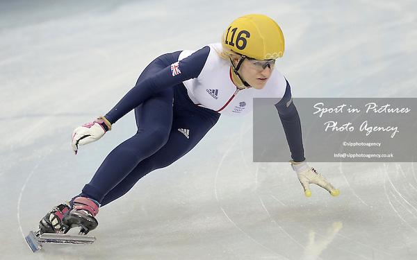 Ellise Christie (GBR) progresses through to the semil finals. Womens 1000m quarter finals - Short track skating - Iceberg skating Palace - Olympic Park - PHOTO: Mandatory by-line: Garry Bowden/SIPPA/Pinnacle - Photo Agency UK Tel: +44(0)1363 881025 - Mobile:0797 1270 681 - VAT Reg No: 768 6958 48 - 210214 - 2014 SOCHI WINTER OLYMPICS - Olympic park, Sochii, Russia