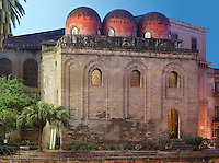 "Apse topped by the three Saracen-style, bulbous, red ""golfball"" domes, Chiesa di San Cataldo (Church of San Cataldo, La Cataldo), 1154, Palermo, Sicily, Italy. The Romanesque church with Arab influences was founded by Maio of Bari, chancellor to William I, during the Norman occupation of Sicily. Picture by Manuel Cohen"