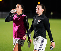 20.02.2020 OUD-HEVERLEE: OHL's Inara Bouker (left) and Hanna Eurlings (right) walk off the pitch before the Belgian's Women's Super League match between Oud-Heverlee Leuven vs KRC Gent Ladies on Friday 20th February 2020, Stadion Oud-Heverlee, Oud-Heverlee, BELGIUM. PHOTO: SEVIL OKTEM
