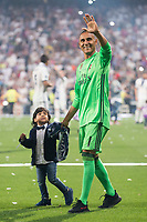 Real Madrid Keylor Navas with his son during the celebration of the 12th UEFA Championship won by Real Madrid  at Santiago Bernabeu Stadium in Madrid, June 04, 2017. Spain.<br /> Foto ALTERPHOTOS/BorjaB.Hojas/Insidefoto