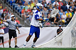 FOXBORO, MA - MAY 28: Cole Aikens (55) of Limestone College with the ball during the Division II Men's Lacrosse Championship held at Gillette Stadium on May 28, 2017 in Foxboro, Massachusetts. (Photo by Larry French/NCAA Photos via Getty Images)