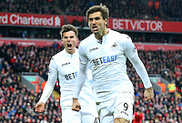 Fernando Llorente of Swansea City celebrates scoring his sides second goal of the match during the Premier League match between Liverpool and Swansea City at Anfield, Liverpool, Merseyside, England, UK. Saturday 21 January 2017