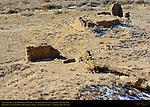 Una Vida Chacoan Great House from Petroglyph Cliffs, Anasazi Hisatsinom Ancestral Pueblo Site, Chaco Culture National Historical Park, Chaco Canyon, Nageezi, New Mexico