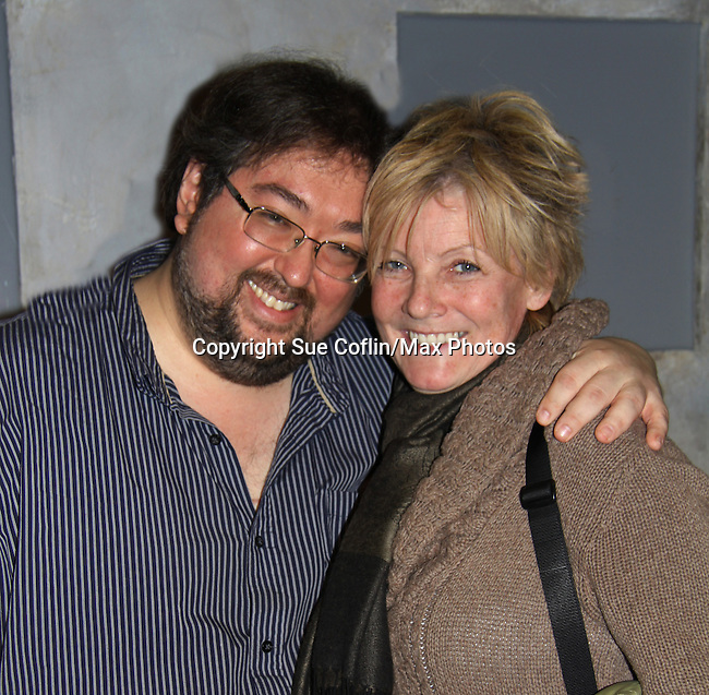 """One Life To Live's Scott Sickles (writer OLTL and Artistic Director WorkShop Theatre Co) poses with ATWT Ellen Dolan (see starred in same play a year ago and now she came to Scott and Florencia in """"Verbatim Verboten - NYC"""" on October 18, 2010 at the WorkShop Theater, NYC. (Photo by Sue Coflin/Max Photos)"""