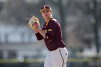 Iona Gaels starting pitcher Stephen Hansen (28) looks to his catcher for the sign against the Rutgers Scarlet Knights at City Park on March 8, 2017 in New Rochelle, New York.  The Scarlet Knights defeated the Gaels 12-3.  (Brian Westerholt/Four Seam Images)